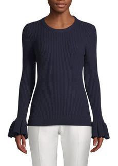 Derek Lam Ruffled Cuff Roundneck Sweater