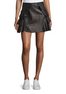 Derek Lam Ruffled Leather Mini Skirt