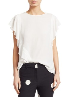 Derek Lam Ruffled Short Sleeve Blouse