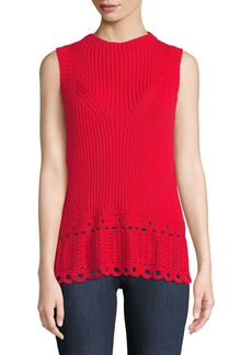 Derek Lam Scalloped Crochet Shell Top