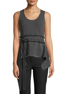 Derek Lam Scoop-Neck Belted Striped Tank