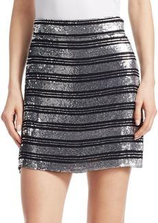 Derek Lam Sequin Stripe Mini Skirt