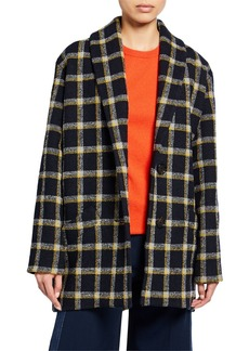 Derek Lam Shawl-Collar Check Cocoon Coat