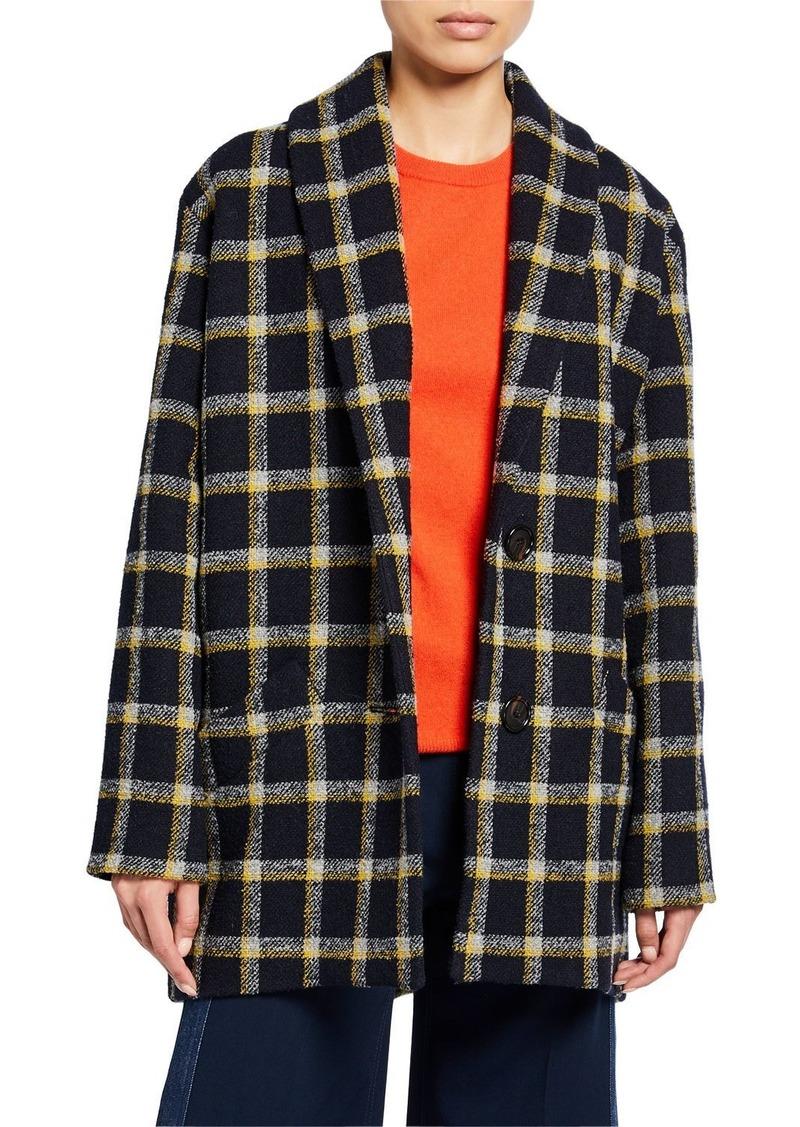 Derek Lam Shawl-Collar Check Cocoon Coat