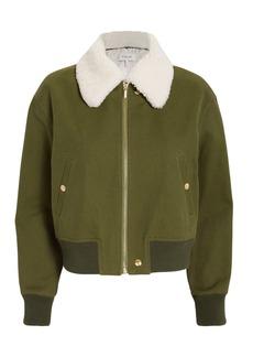 Derek Lam Shearling Collar Army Green Bomber Jacket