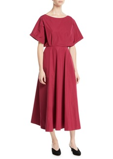 Derek Lam Short-Sleeve A-Line Cotton Midi Dress w/ Cutout Back