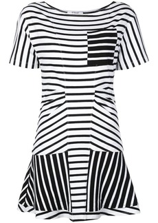 Derek Lam Striped Short Sleeve Crewneck Dress with Flared Skirt