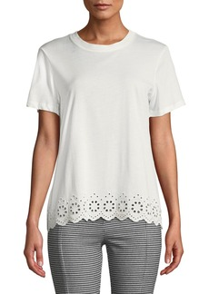 Derek Lam Short-Sleeve Crossover-Back Cotton Tee w/ Eyelet Embroidery