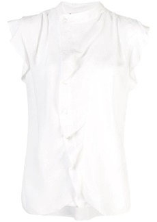 Derek Lam Short Sleeve Draped Blouse with Asymmetrical Placket