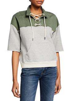 Derek Lam Short-Sleeve Lace-Up Pullover Sweatshirt