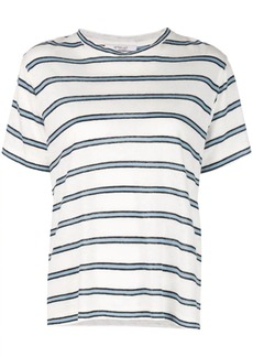 Derek Lam Short Sleeve Linen Striped Jersey Tee with Slit Detail
