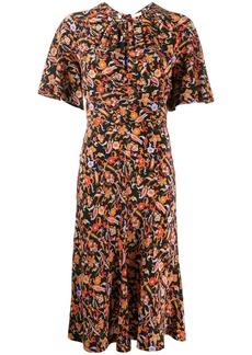 Derek Lam Short Sleeve Paisley Print Midi Dress with Asymmetric Hem