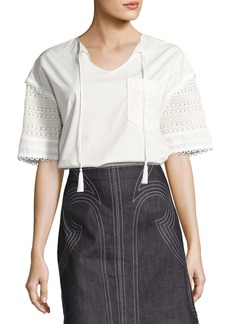 Derek Lam Short-Sleeve Poplin & Crochet Top