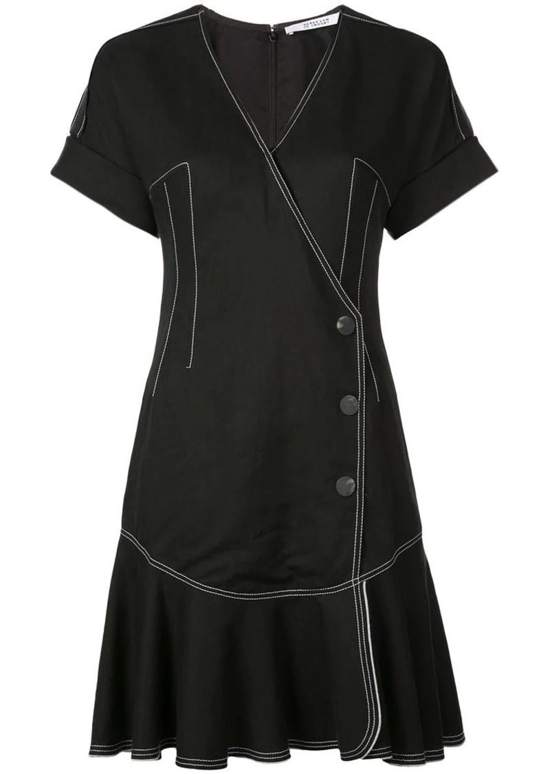 Derek Lam Short Sleeve Wrap Dress with Pleated Hem