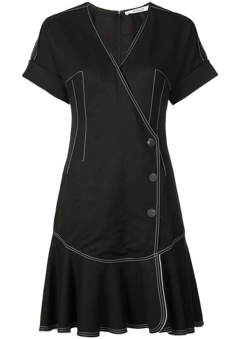 Short Sleeve Wrap Dress with Pleated Hem