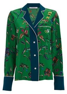 Derek Lam Silk Floral Button Down Pajama Top