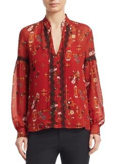 Derek Lam Silk Lace Trimmed Floral Blouse