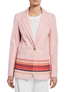 Derek Lam Single-Button Blazer with Embroidery