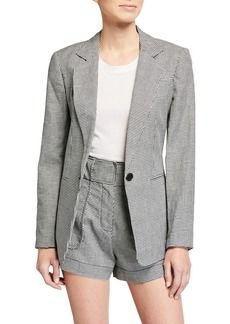 Derek Lam Single-Button Houndstooth Blazer
