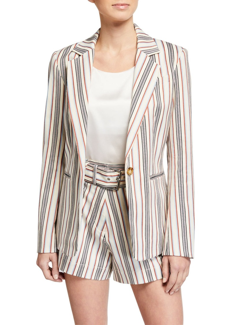 Derek Lam Single-Button Stripe Blazer