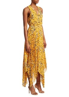 Derek Lam Sleeveless Animal Print Pleated Dress