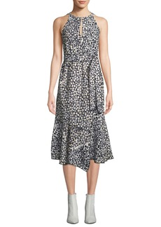 Derek Lam Sleeveless Belted Printed A-Line Dress