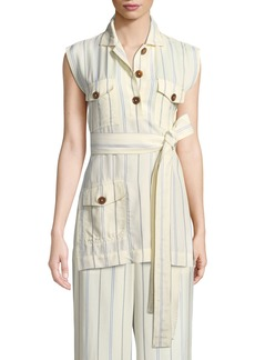 Derek Lam Sleeveless Belted Stripe Utility Tunic