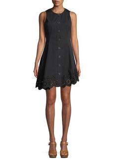 Derek Lam Sleeveless Button-Down Cotton Dress with Scalloped Hem