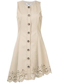 Derek Lam Sleeveless Button Down Dress With Scalloped Hem