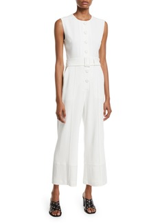 Derek Lam Sleeveless Button-Down Jumpsuit w/ Belt