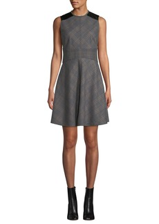 Derek Lam Sleeveless Check Fit & Flare Short Dress with Corset Detail