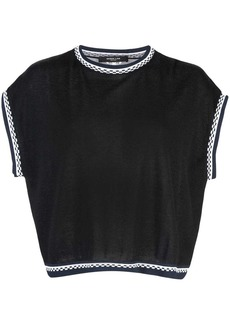 Derek Lam Sleeveless Crewneck Cashmere Shell with Printed Silk Back