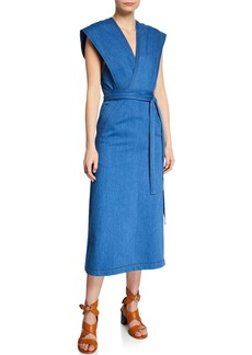 Derek Lam Sleeveless Denim Wrap Dress