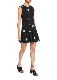 Derek Lam Sleeveless Dot-Print Dress with Ruffle Hem