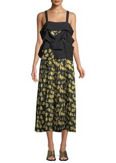 Derek Lam Sleeveless Draped Panel Cami Floral-Print Pleated Silk Dress