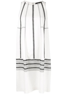 Derek Lam Sleeveless Embroidered Georgette Cocoon Dress