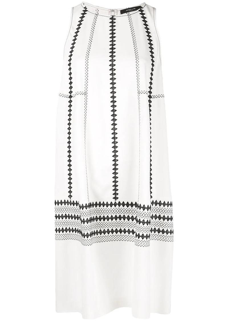 Derek Lam Sleeveless Embroidered Georgette Cocoon Dress