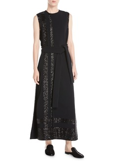 Derek Lam Sleeveless Long Paneled Sequin A-Line Crepe Dress w/ Self-Belt