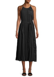 Derek Lam Sleeveless Pleated Cami Dress with Lace