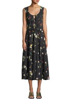 Derek Lam Sleeveless Scoop-Neck Botanical Floral-Print Silk Dress