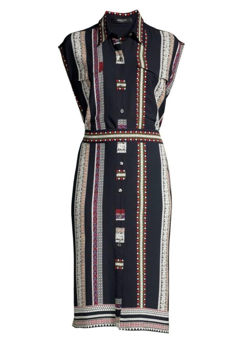 Derek Lam Sleeveless Silk Belted Shirtdress