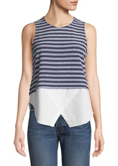 Derek Lam Sleeveless Striped Tank with Shirttail Hem