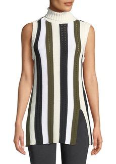 Derek Lam Sleeveless Striped Turtleneck Sweater