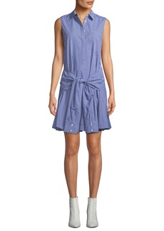 Derek Lam Sleeveless Tie-Waist Check Shirtdress