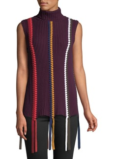 Derek Lam Sleeveless Turtleneck Sweater with Braided Details