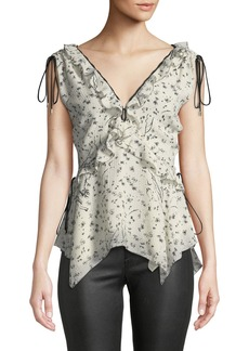 Derek Lam Sleeveless V-Neck Ruffle Top