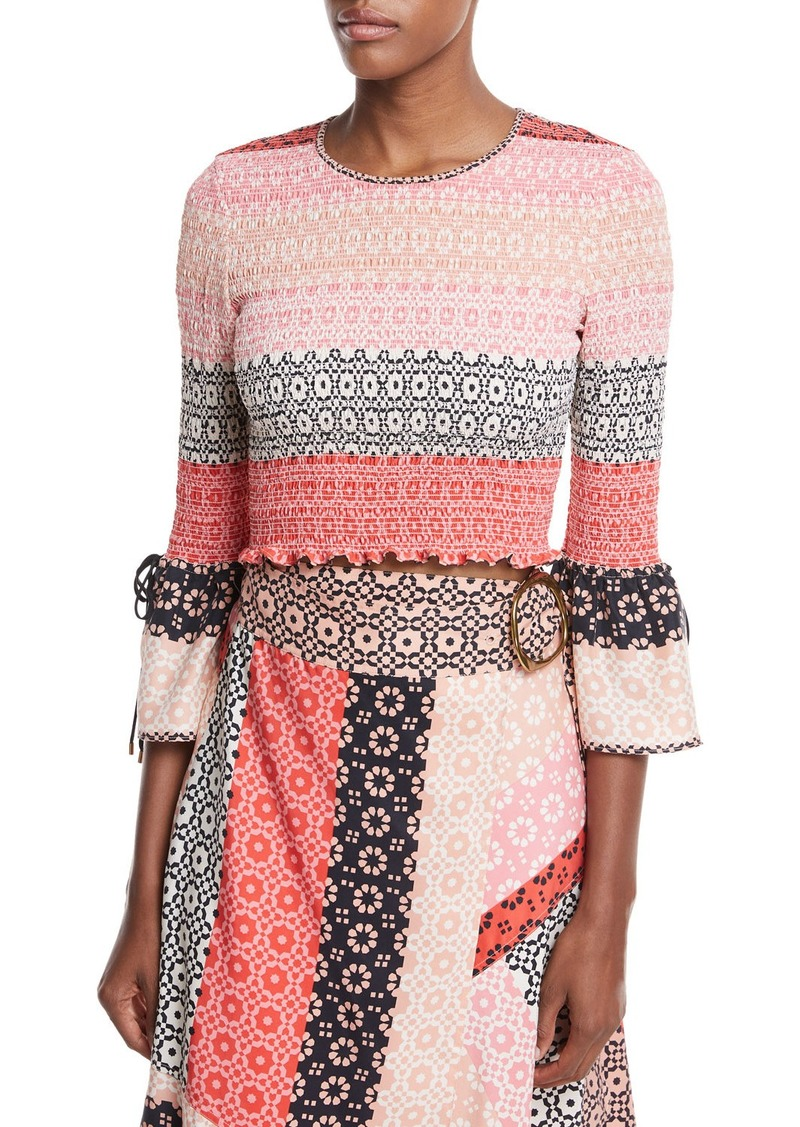 Derek Lam Smocked Long-Sleeve Silk Printed Blouse