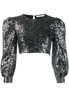 Derek Lam Sofia Cropped Baby Sequin Bell Sleeve Mesh Top