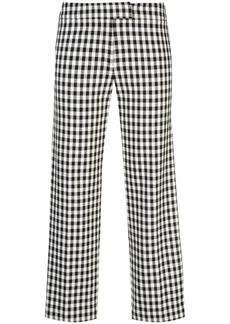 Derek Lam Straight Leg Gingham Trouser with Tuxedo Stripe