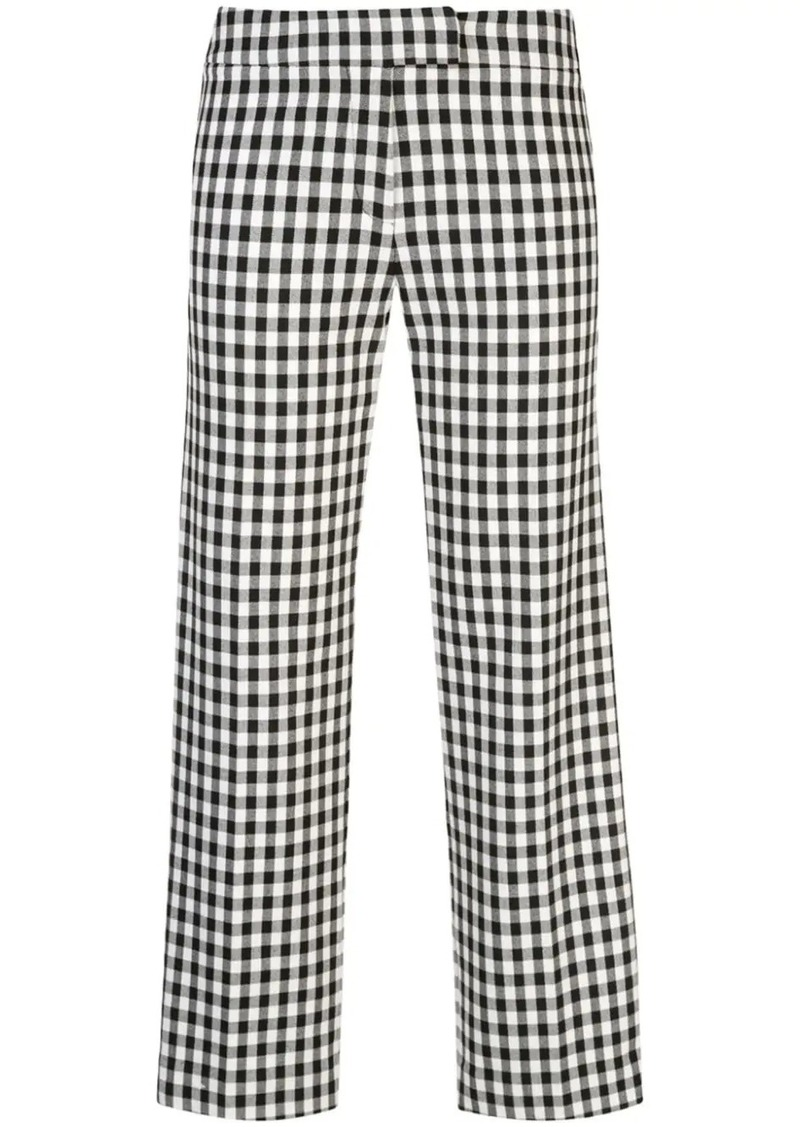 Derek Lam Straight Leg Gingham Trouser with Tuxedo Stripe